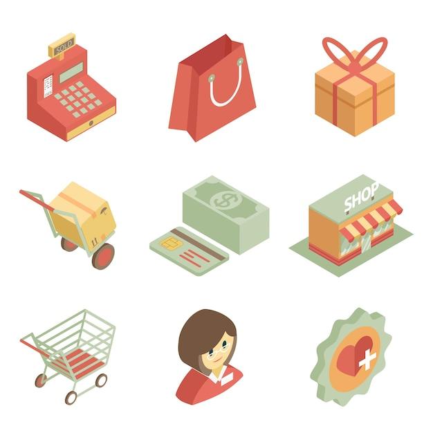 Coloridos iconos de compras isométricas para tienda o supermercado sobre fondo blanco. vector gratuito