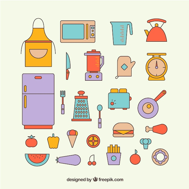 Coloridos iconos de elementos de cocina descargar for Elementos de cocina