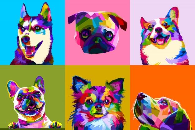 Coloridos juegos de perros en el arte pop. Vector Premium