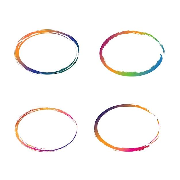 Coloridos marcos ovales en estilo grunge   Descargar Vectores Premium