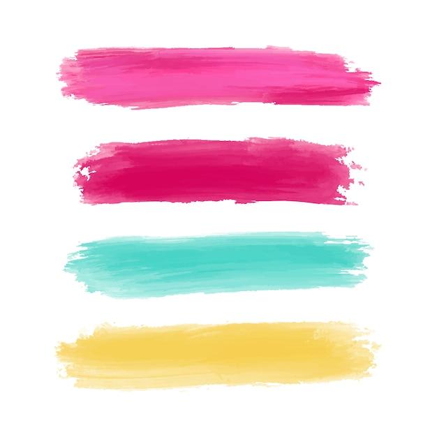 Coloridos trazos de pincel de acuarela vector gratuito
