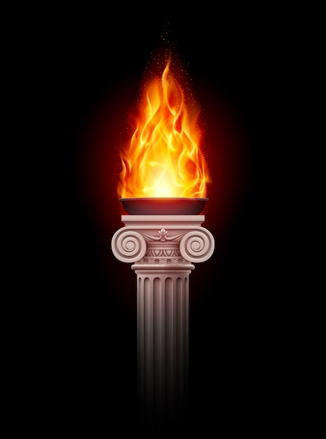 Columna con fuego Vector Premium