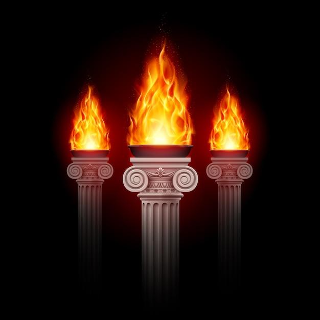 Columnas con fuego Vector Premium