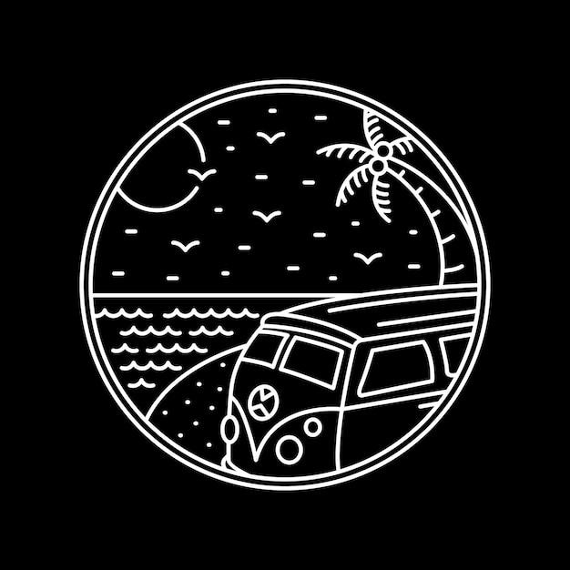 Combi beach trip Vector Premium