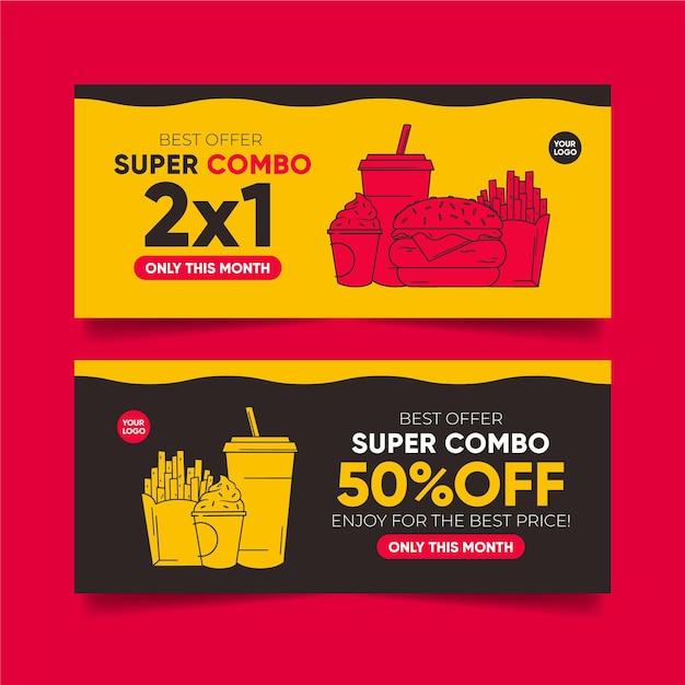 Combo ofrece colección de banners Vector Premium