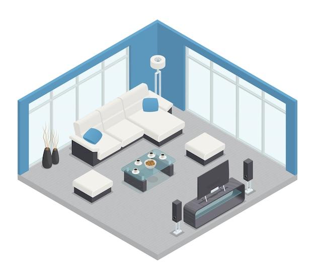 Comedor composición isométrica con mesa de sofá tv y lámpara. vector gratuito