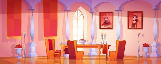 Comedor interior en el castillo real medieval vector gratuito
