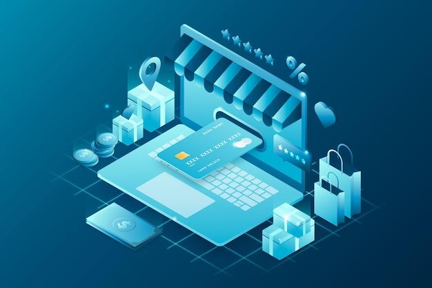 Comercio electrónico isométrico - concepto vector gratuito