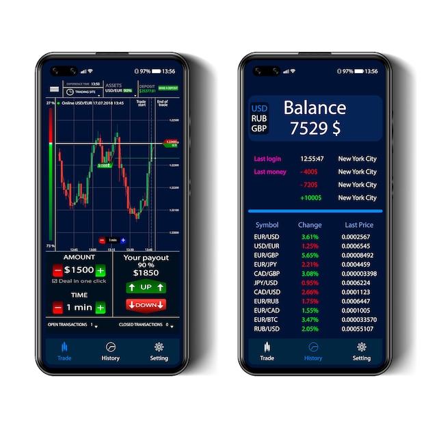 Comercio en la pantalla de un teléfono inteligente, interfaz de opciones binarias, teléfono inteligente realista Vector Premium
