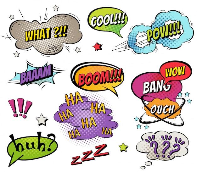 Comic discurso de burbujas y salpicaduras conjunto. Vector Premium