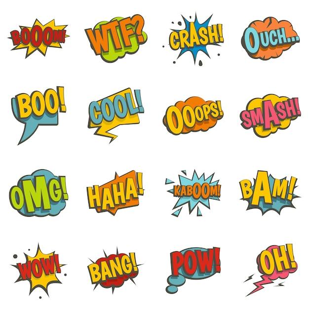 Comic iconos de sonido de colores establecidos en estilo plano Vector Premium