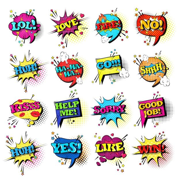 Comic speech chat bubble set pop art style colección de iconos de texto de expresión de sonido Vector Premium