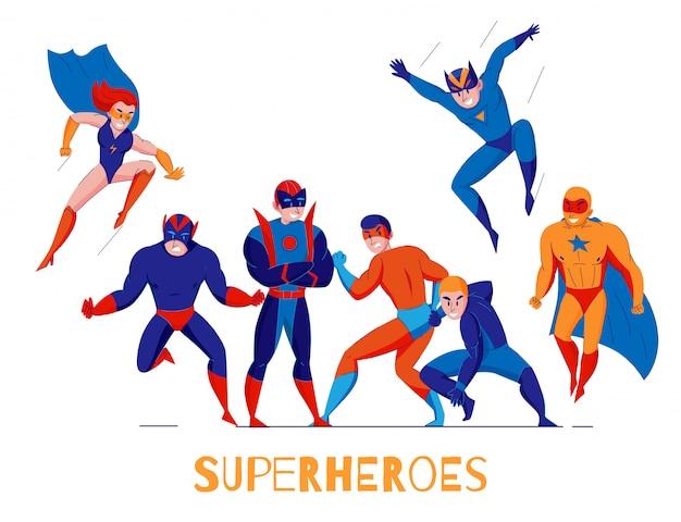 Cómics videojuegos de computadora superhéroes póster de composición plana con super hombre y mujer maravilla vector gratuito