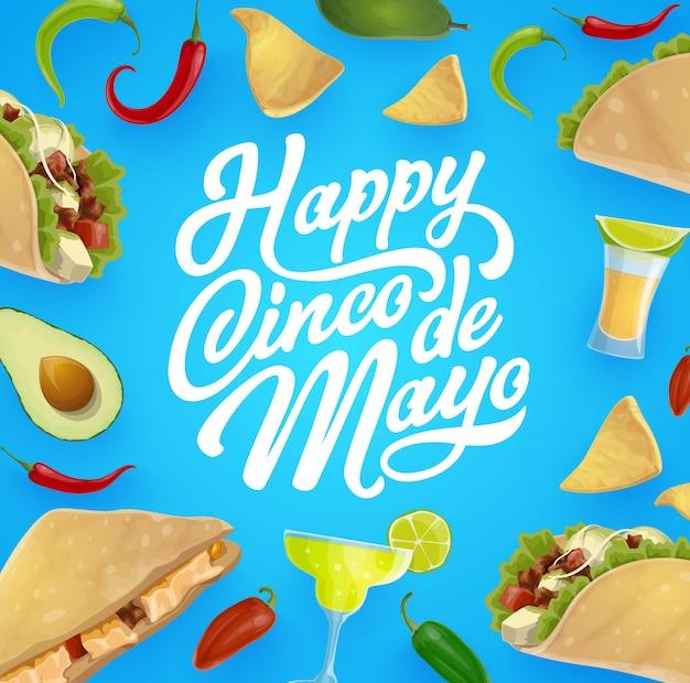 Comida y bebida mexicana. fiesta de cinco de mayo Vector Premium