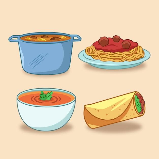 Comida casera, espagueti y sopa vector gratuito