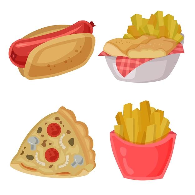 Comida chatarra vector clip art hotdog fries pizza conjunto de elementos Vector Premium