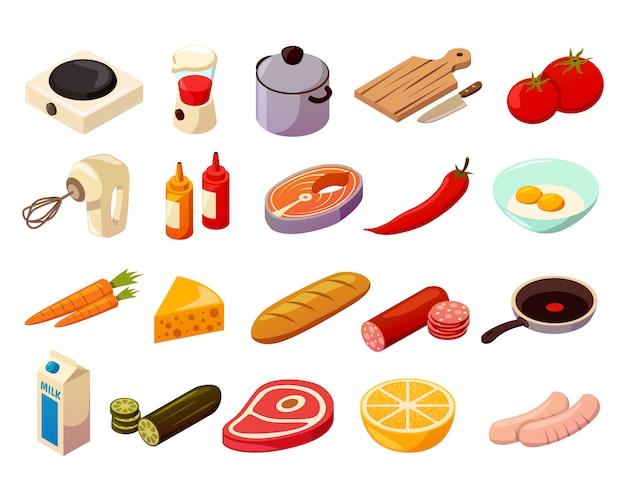 Comida cocinar iconos isométricos vector gratuito