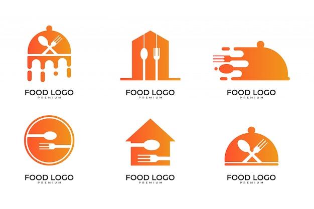 Comida, cocinero, conjunto de diseño de logotipo de restaurante Vector Premium