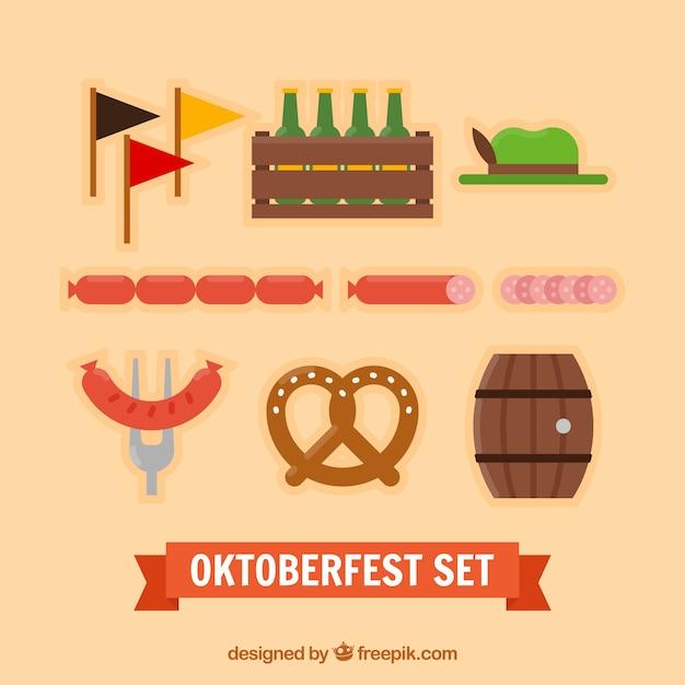 Comida y elementos de oktoberfest vector gratuito