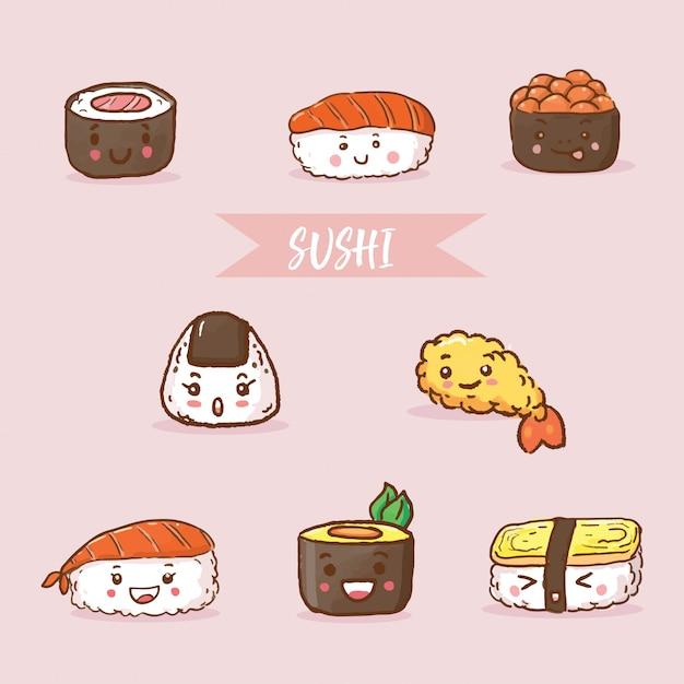 Comida japonesa sushi Vector Premium
