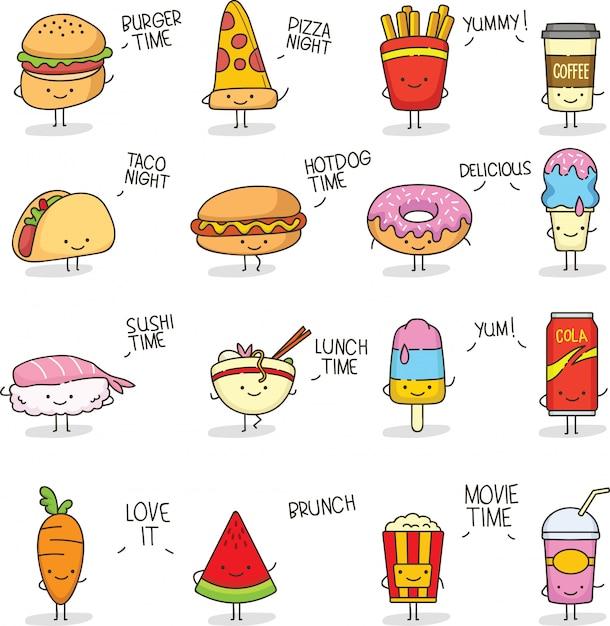 Comida linda doodle kawaii Vector Premium