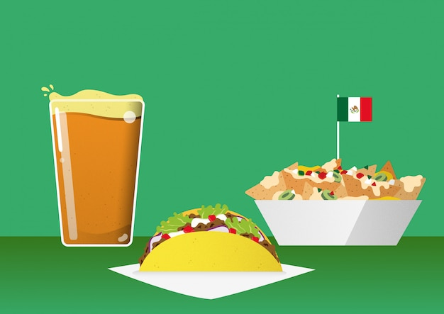 Comida mexicana y snacks bar Vector Premium