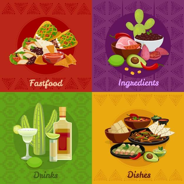 Comida picante mexicana comida platos snacks y bebidas 4 iconos planos cuadrados composición banner vector gratuito