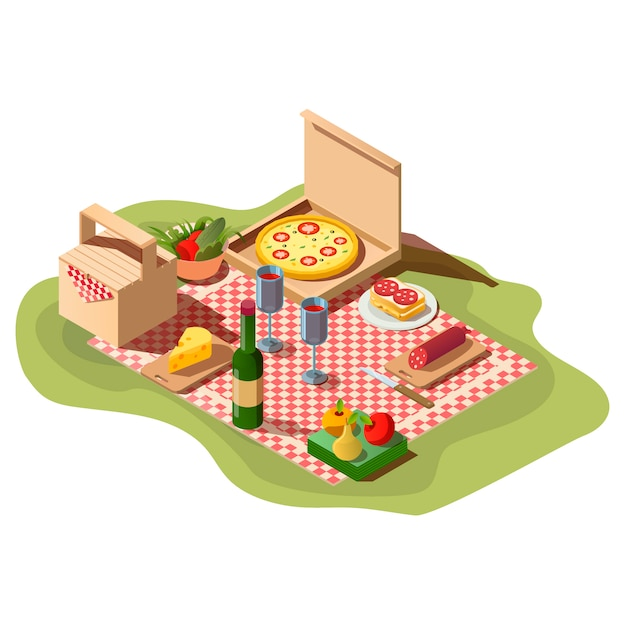 Comida de picnic isométrica, caja de pizza, vino y cesta. vector gratuito