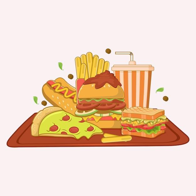 Comida rápida en una bandeja Vector Premium