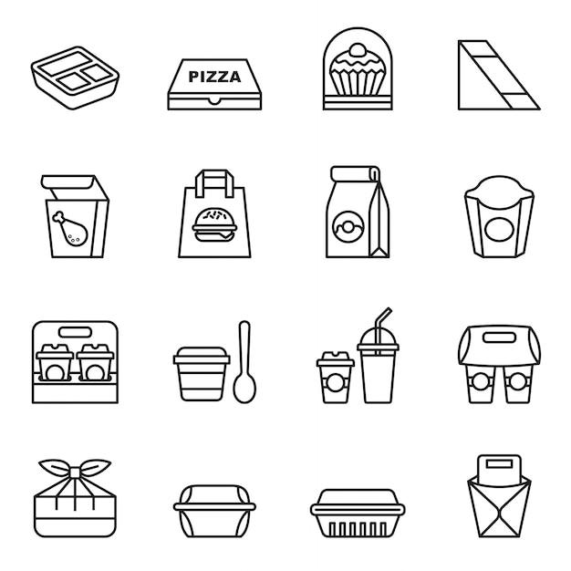 Comida rápida. para llevar. iconos de paquete para la entrega. Vector Premium