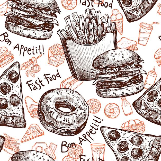 Comida rápida de patrones sin fisuras vector gratuito