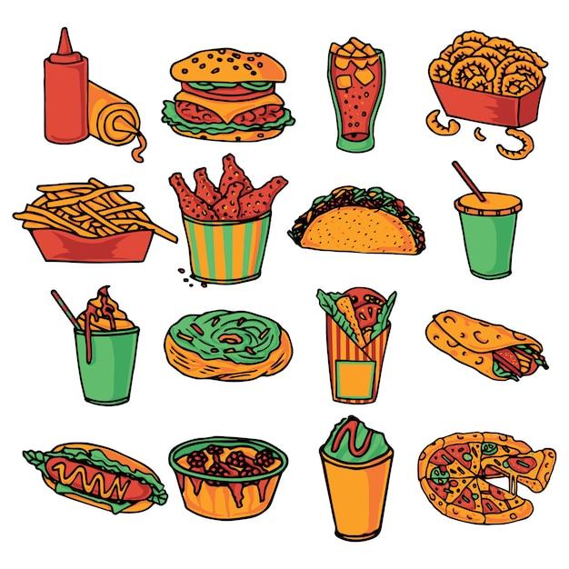 Comida rápida restaurante colección de iconos de menú vector gratuito