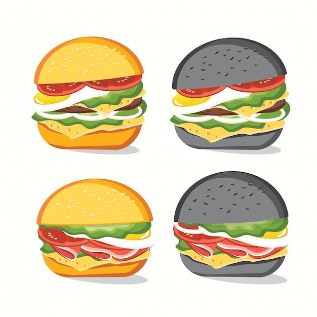 Comida rápida, sabrosa comida rápida conjunto aislado en blanco Vector Premium