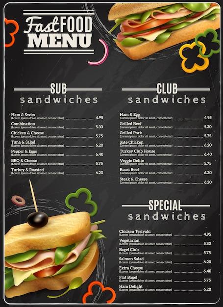 Comida rápida sandwiches menú publicidad cartel vector gratuito