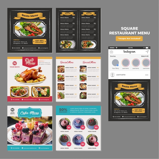 Comida restaurante social media square plantilla promocional Vector Premium