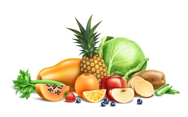 Comida sana, frutas y verduras orgánicas y bayas. Vector Premium