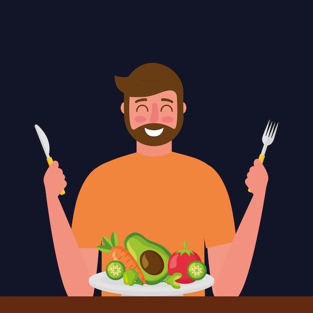 Comida sana de personas vector gratuito