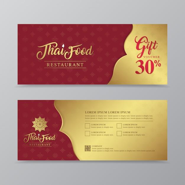 Comida tailandesa y plantilla de diseño de vale de regalo de restaurante tailandés Vector Premium