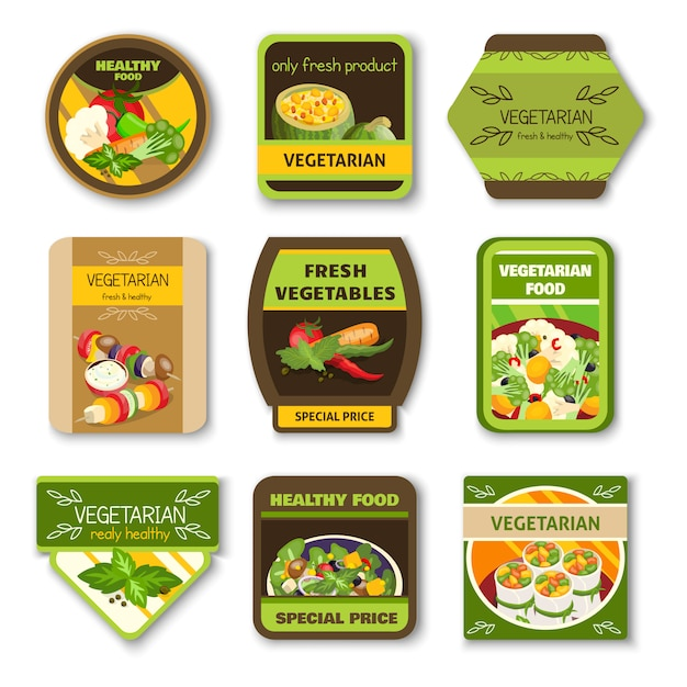 Comida vegetariana emblemas coloridos vector gratuito