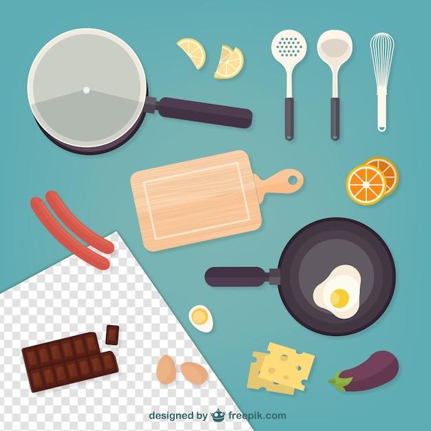 comida y elementos de cocina descargar vectores gratis