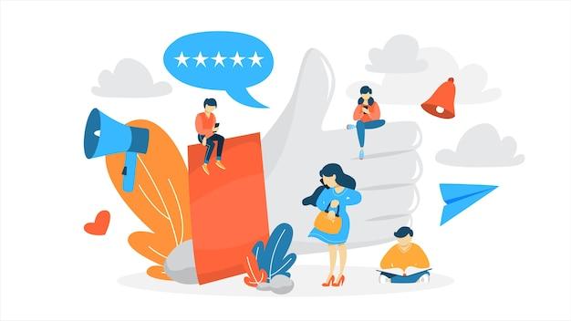 Como concepto. gente pequeña sentada en los enormes pulgares hacia arriba. red social y comunicación online. signo de agradecimiento. ilustración Vector Premium