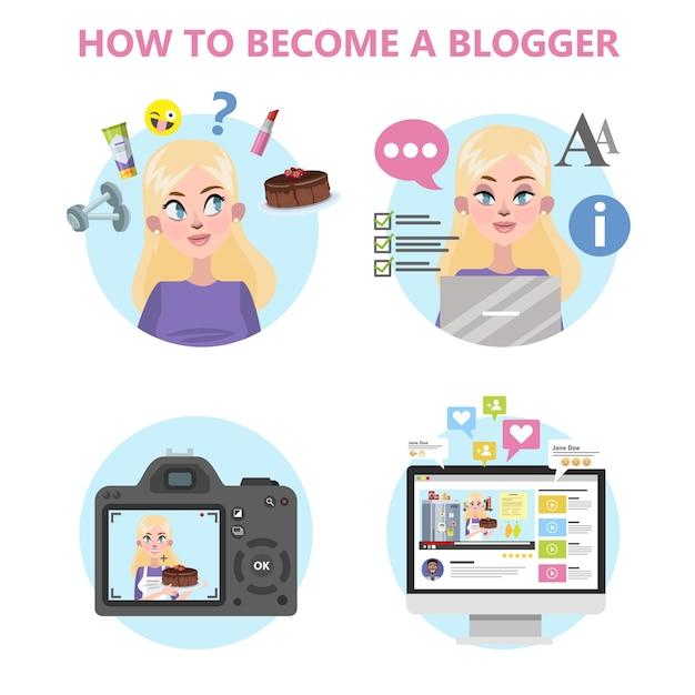 Cómo convertirse en un buen blogger infografía Vector Premium
