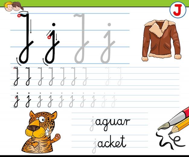 Cómo escribir la hoja de trabajo de la letra j para niños ...