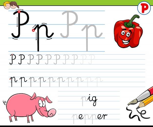Cómo escribir la hoja de trabajo de la letra p para niños ...