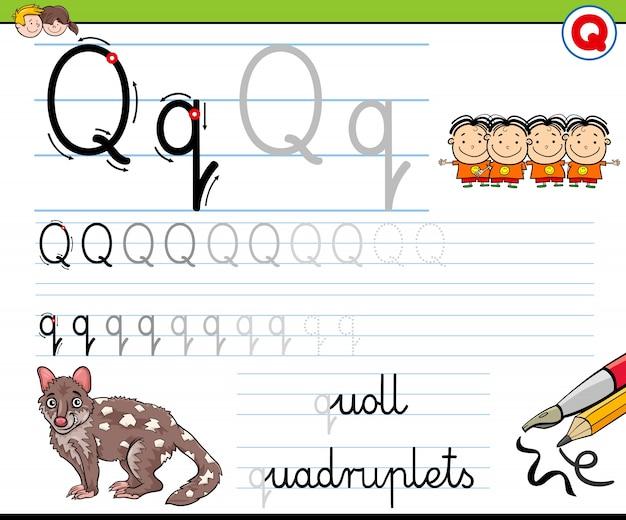 Cómo escribir la hoja de trabajo de la letra q para niños ...