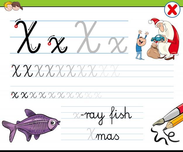 Cómo escribir la hoja de trabajo de la letra x para niños ...