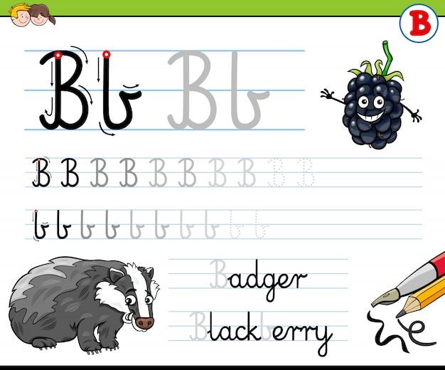 Cómo escribir la hoja de trabajo de la letra b para niños ...