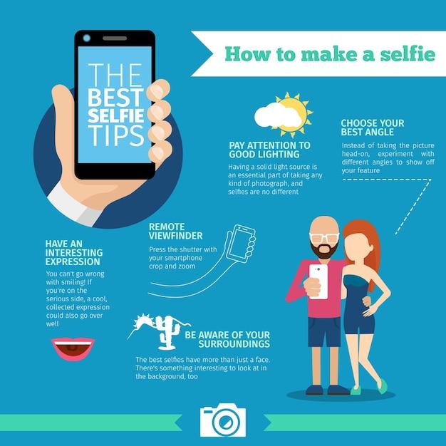 Cómo hacer una infografía selfie vector gratuito