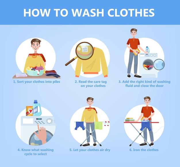 Cómo lavar la ropa a mano, guía paso a paso para ama de casa. instrucción sobre el cuidado de la ropa. detergente o polvo para diferentes tipos de ropa. ilustración de vector plano aislado Vector Premium