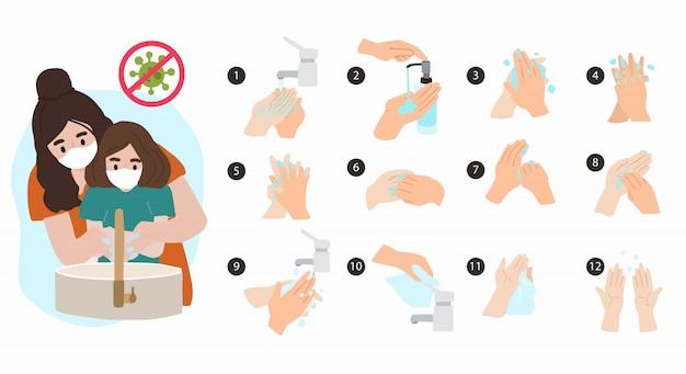 Cómo lavarse las manos paso a paso para evitar la propagación de bacterias, virus. ilustración vectorial para póster. elemento editable Vector Premium